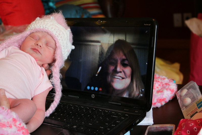 Lainey  meeting Grandma via Skype