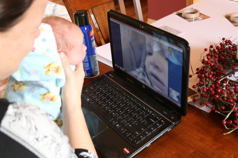 Lainey meeting cousin Colt via Skype